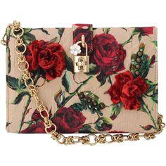 Dolce & Gabbana Small Rose Print Canvas Bag featuring polyvore fashion bags handbags floral print purse floral handbag canvas purse chain handle handbags red handbags
