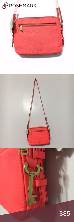 """Fossil Neon Coral """"Piper Toaster"""" Crossbody Fossil Neon Coral """"Piper Toaster"""" Crossbody  Neon coral colored crossbody bag from Fossil. New with tags, never used. 3 card slots inside. Adjustable length strap. Retails for $138.  Measurements (approximate): - Length: 8.5"""" - Height: 6.5"""" - Width: 1.75"""" Fossil Bags Crossbody Bags"""