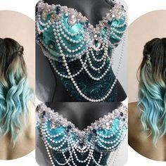 Aqua Mermaid Goddess- rave, rave bra, halloween, costume, edm, festival, ariel, disney, pearls, siren from RichMahoganyLife on Etsy. Saved to Sea Sirens.