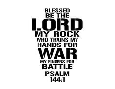 Psalm 144:1 Blessed be the Lord my rock who trains my hands for war and my fingers for battle, boxing quote, wall decal, vinyl PS144v1-0001 by WildEyesSigns on Etsy