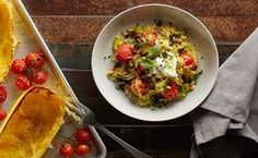 "Sheet-Pan Spaghetti Squash Puttanesca... Rather than pasta, serve the salty and spicy flavors of this classic Southern Italian dish with spaghetti squash ""noodles"" for a delicious, hearty vegetarian dinner"