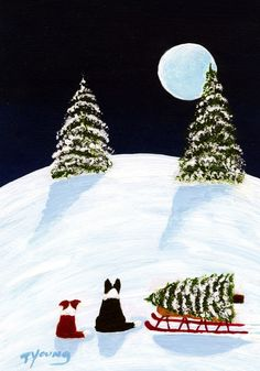 Silent Night Border Collie Dog folk art print by by ToddYoungArt, $13.50