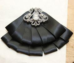 Black Satin Ribbon Ascot Cravat Necktie Brooch Pin Clip Bow Tie
