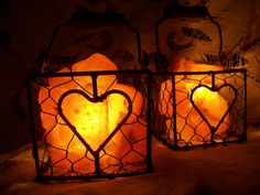Himalayan Salt Lamp Heart Wire Basket with by WhiteDoveTreasures, $23.00