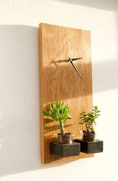 Oak Clock Wooden Wall Modern geometric with by ArtGlamourSligo