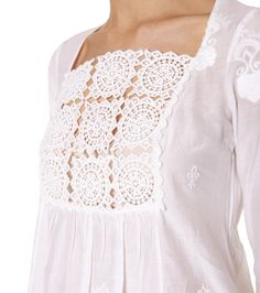 cute idea to use a lace panel for a bodice. Crochet Yoke, Crochet Fabric, Techniques Couture, Odd Molly, Plus Size Fashion For Women, Chantilly Lace, Outfit Combinations, Cotton Silk, Sewing Clothes