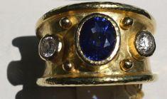 Elizabeth Locke Sapphire Diamond Cigar Band Ring