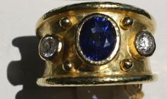 Elizabeth Locke Sapphire Diamond Cigar Band Ring