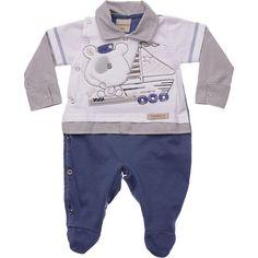 Saída Maternidade Bebê Ursinho Marinheiro Azul Travessu's