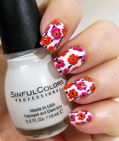 Marimekko Inspired Flowers Nail Art