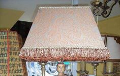 Old World Fortuny Lampshade ~ Large Rectangle Peach Fortuny with Custom Trim — at Studio Veneto.