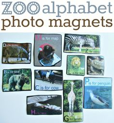 Teach the alphabet with your own photos from outings turned into alphabet magnets .