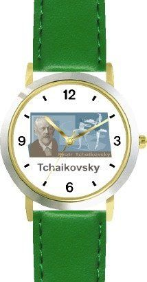 Peter Tchaikovsky 1 Musician - Music Composer - WATCHBUDDY® DELUXE TWO-TONE THEME WATCH - Arabic Numbers - Green Leather Strap-Size-Children's Size-Small ( Boy's Size & Girl's Size ) WatchBuddy. $49.95. Save 38% Off!