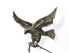 Large Silver Coloured & Sparkly Marcasite Swooping Eagle Brooch with Safety Chains (c1930s) by GillardAndMay on Etsy