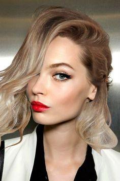 red lipstick, blonde hair