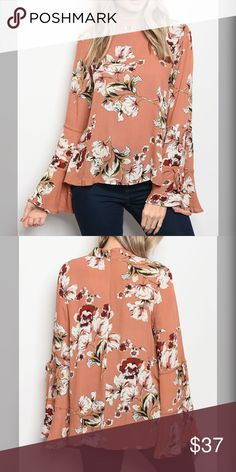 PREORDER Floral Mock Neck Floral Bell Sleeve Top Long sleeve floral print blouse that features a mock neckline and bell sleeves. Tops Blouses