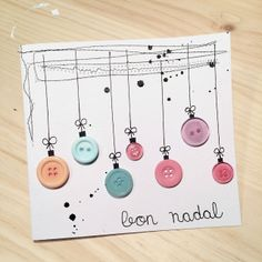 New Christmas cards with buttons for 2015 - Educational Images - Oscar Wallin Xmas Crafts, Diy And Crafts, Button Ornaments, Noel Christmas, Button Crafts, Xmas Decorations, Tapas, Cardmaking, Origami