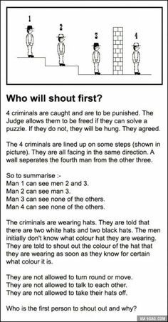 This must be one really messed up society if they base their criminal justice system on suspects solving riddles. I left my answer in the comments section. Riddle Puzzles, Logic Puzzles, Brain Teasers Riddles, Mystery Riddles, Mind Puzzles, Jokes And Riddles, Funny Riddles, Funny Math, Funny Science