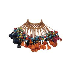 Vintage tribal glass beaded tassel necklace India 1940s