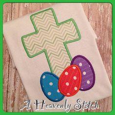 Easter Egg Cross short sleeve shirt by AHeavenlyStitch on Etsy, $20.00
