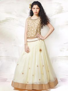 Cream Net Lehenga Choli