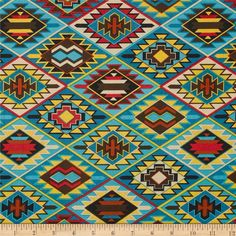 Mesa Verde Indian Blanket Turquoise from @fabricdotcom  Designed for Fabri-Quilt, this cotton print is perfect for quilting, apparel and home decor accents.  Colors include orange, turquoise, yellow, black and brown.