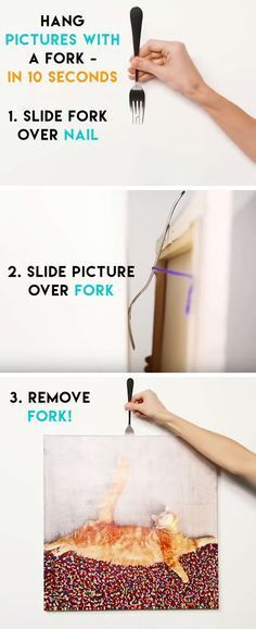 Hang Pictures with a Fork | Life Hacks Every Girl Should Know | DIY Home Decorating Ideas on a Budget