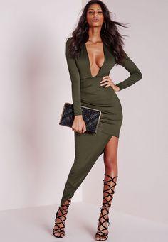 Missguided - Long Sleeve Plunge Asymmetric Hem Bodycon Dress Khaki