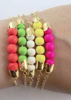 Neon Bracelets - Neon pink green yellow ivory - Neon and Gold / http://www.etsy.com/listing/108865400/neon-bracelets-neon-pink-green-yellow