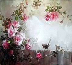 Fine art of flowers and birds.