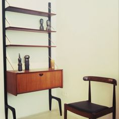 1950's shelving and detail Alfred Hendrickx chair 1960 @ Galerie Alainko