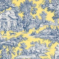 Thibaut Piccadilly - Cotillion Toile - Fabric - Blue on Yellow