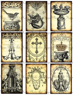 French Ornamental Tags 2x3.5 Digital Collage Sheet - birds chandelier cross crowns aged stained ATC ACEO greeting cards - U Print sh184