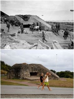 1- June 7, 1944: US Army troops congregate around a signal post used by engineers on the site of a captured German bunker overlooking Omaha Beach after the D-Day landings near Saint Laurent sur Mer 2- Tourists walk past a former German bunker overlooking the D-Day landing zone on Omaha Beach