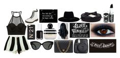 """Are you afraid of the dark?"" by tabitharuth ❤ liked on Polyvore featuring Forever 21, Dr. Martens, Fuji, N°21, Chanel, Zimmermann, Essie, Linda Farrow, Marc Jacobs and Kenzo"