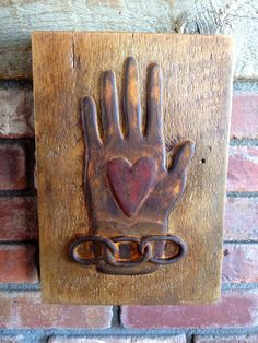Primitive Heart and Hand Art Inspired by a by FolkForAllSeasons, $55.00