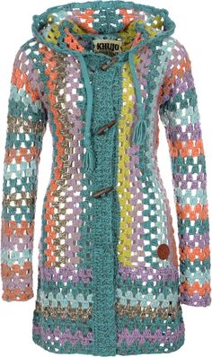 Khujo Thite W Strickjacke türkis orange lila Diy Crochet And Knitting, Crochet Art, Crochet Crafts, Crochet Clothes, Knooking, Poncho Shawl, Easy Crochet Projects, Crochet Jacket, Crochet Dresses