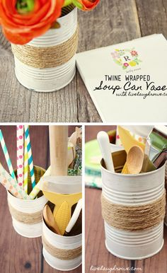 Repurposed Soup Can as Rustic Vases | 27 DIY Rustic Decor Ideas for the Home | DIY Rustic Home Decorating on a Budget