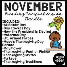 November Reading Comprehension Worksheet Bundle