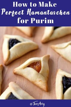 How to Make Perfect Hamantaschen - Learn to make perfectly shaped hamantaschen that won't open, spread, or leak in the oven. Tips, dough recipes, folding techniques and troubleshooting. | ToriAvey.com #hamantaschen #purim #hamanshats #purimcookies #jewishholidays