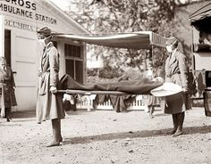 Flu Pandemic of 1918-shows nurses transporting a victim. This was one of the worst pandemics of all time, and killed over 50 million people worldwide.