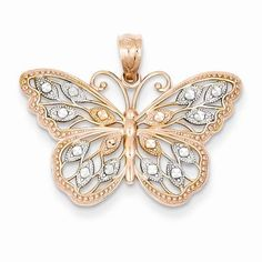 14k Rose Gold Rhodium Plated Diamond Cut Butterfly Pendant