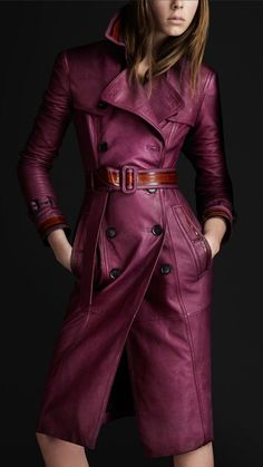 Burberry Prorsum women grainy leather trench coat.....OMG...this color is my new Fall fav!!!!!
