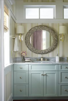 Beach House with Colorful Interiors  vanity paint color:  SW SW 6212 Quietude