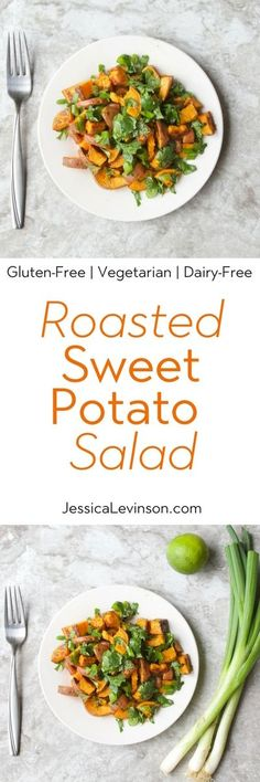 Lighten up classic potato salad with roasted sweet potato salad tossed with cilantro, scallions, and a honey lime vinaigrette. Healthy Salad Recipes, Lunch Recipes, Summer Recipes, Real Food Recipes, Vegetarian Recipes, Healthy Soups, Potato Recipes, Free Recipes, Classic Potato Salad