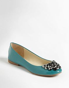 enzo angiolini claton ballet flats in blue patent // lord & taylor