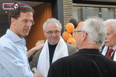 Minister President Mark Rutte op campagne In Sittard met Jan Willem Pieters van de VVD Sittard-Geleen.