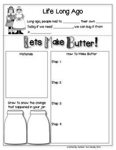 If you're studying about life long ago, this experiment is perfect for your kiddos. Watch students' amazement as they make their own butter in this activity. This is also a perfect activity to do around Thanksgiving time.  This download includes a student recording sheet, an answer sheet (with experiment directions) and a parent letter home if you prefer to request the supplies needed.