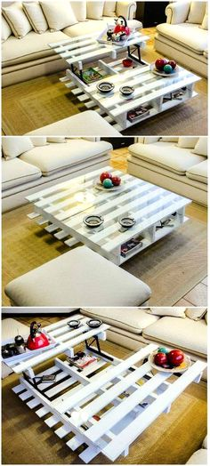 We have already made several coffee tables by recycling the pallet wood but here is a real beauty for your indoor. This is bright white, this also have additional storage space, and it is matching to the rest of the room interior.