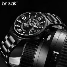 US $51.80 - BREAK Men Top Luxury Brand Stainless Steel Band Fashion Casual Calendar Quartz Sports Wristwatches Creative Gift Dress Watches